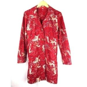 Johnny Was Red Cotton Embroidered Dragon Jacket S